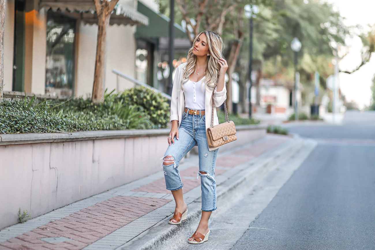 Tan Chanel Medium Flap Bag Hermes H Belt Levis Distressed Jeans Free people Bodysuit
