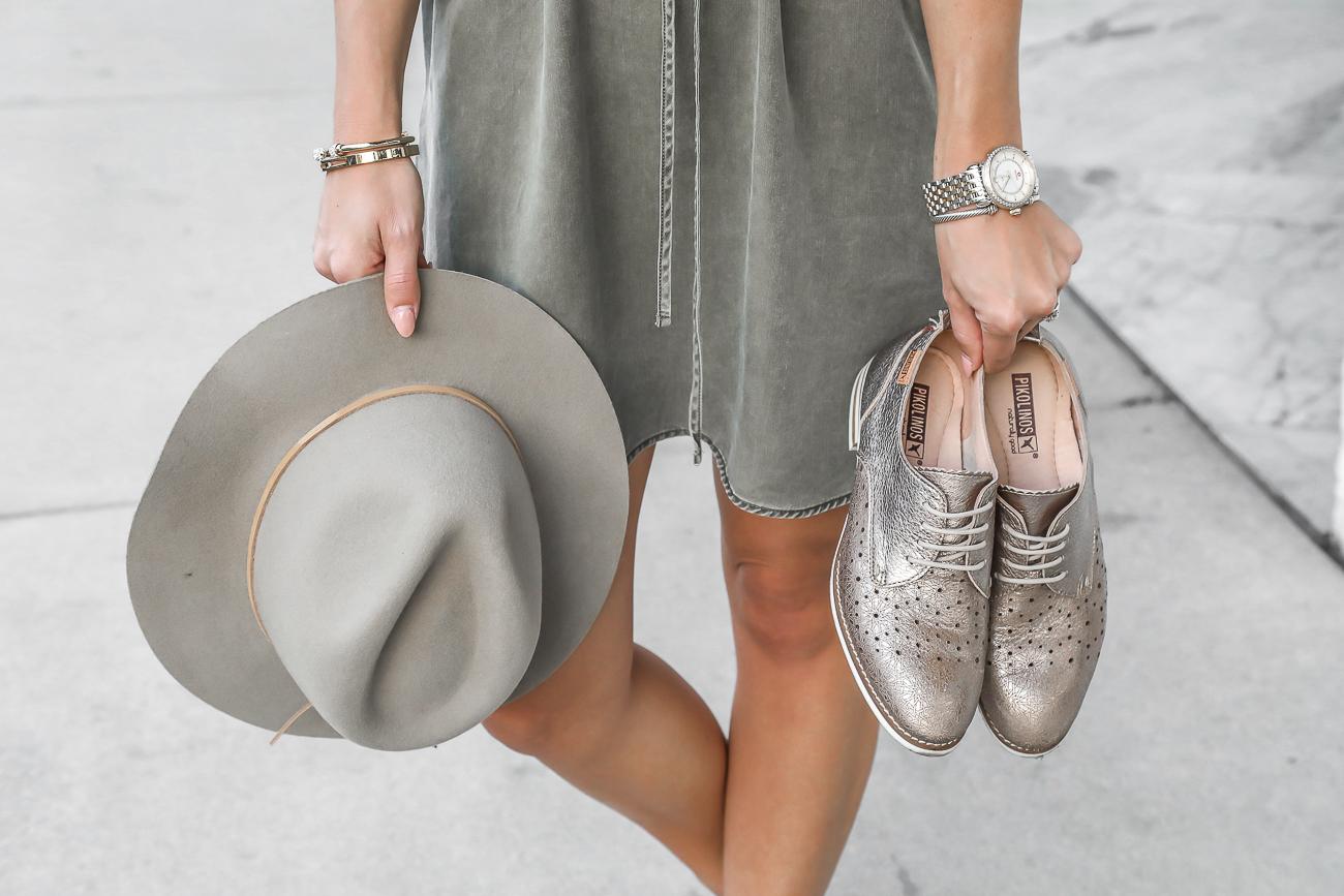 Pikolinos Royal Oxfords Boho Spring Outfit Brixton Fedora Fishtail braids Michele watch