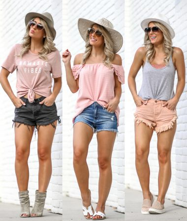 Emmer & Oat Summer Shorts Outfits Denim Shorts Under $50 Casual Summer Outfit Ideas
