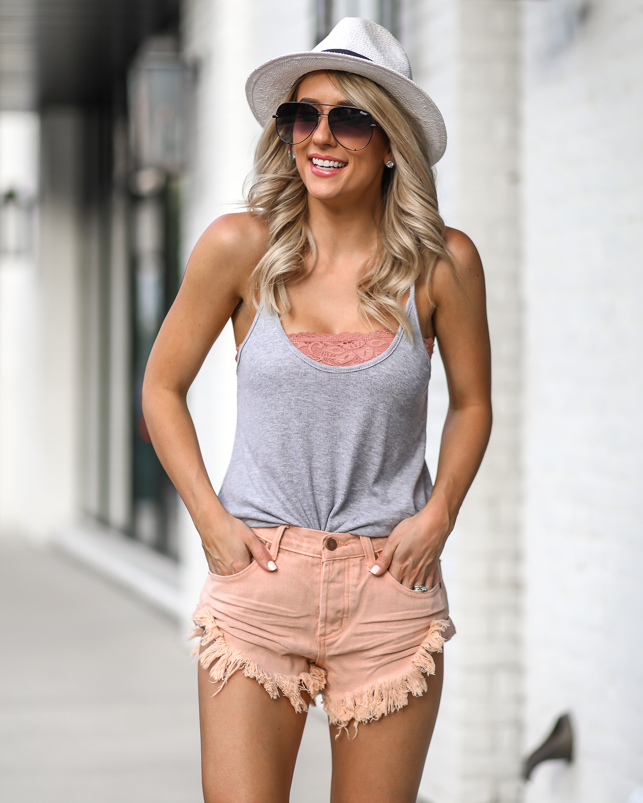 Summer Shorts Outfits Denim Shorts Under $50 Comfy Slip On Sneakers White Panama Hat Quay Australia X Desi High Key Sunglasses In Black Fade
