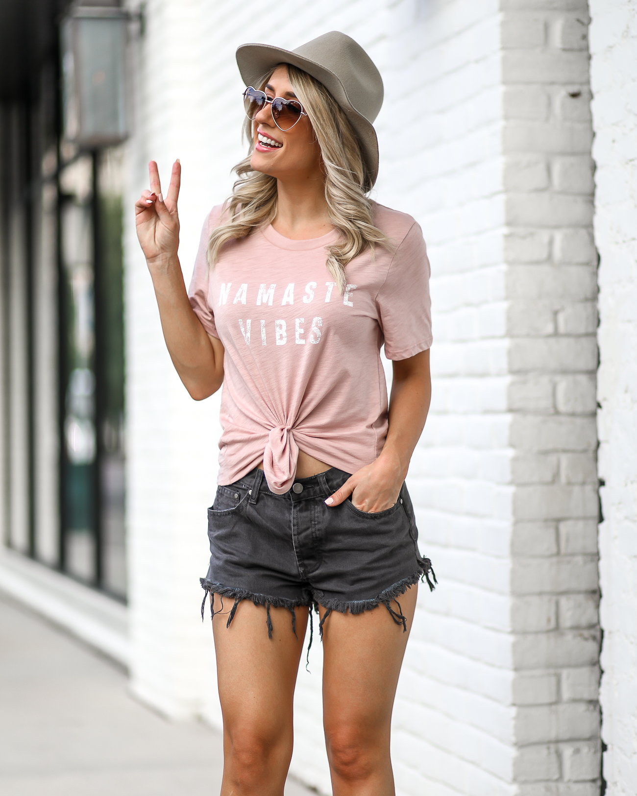 Black Boho Summer Shorts Outfits Denim Shorts Under $50 Kristin Cavallari 'Laurel' Peep Toe Bootie Brixton Hat Heart Sunglasses Nameste Tee