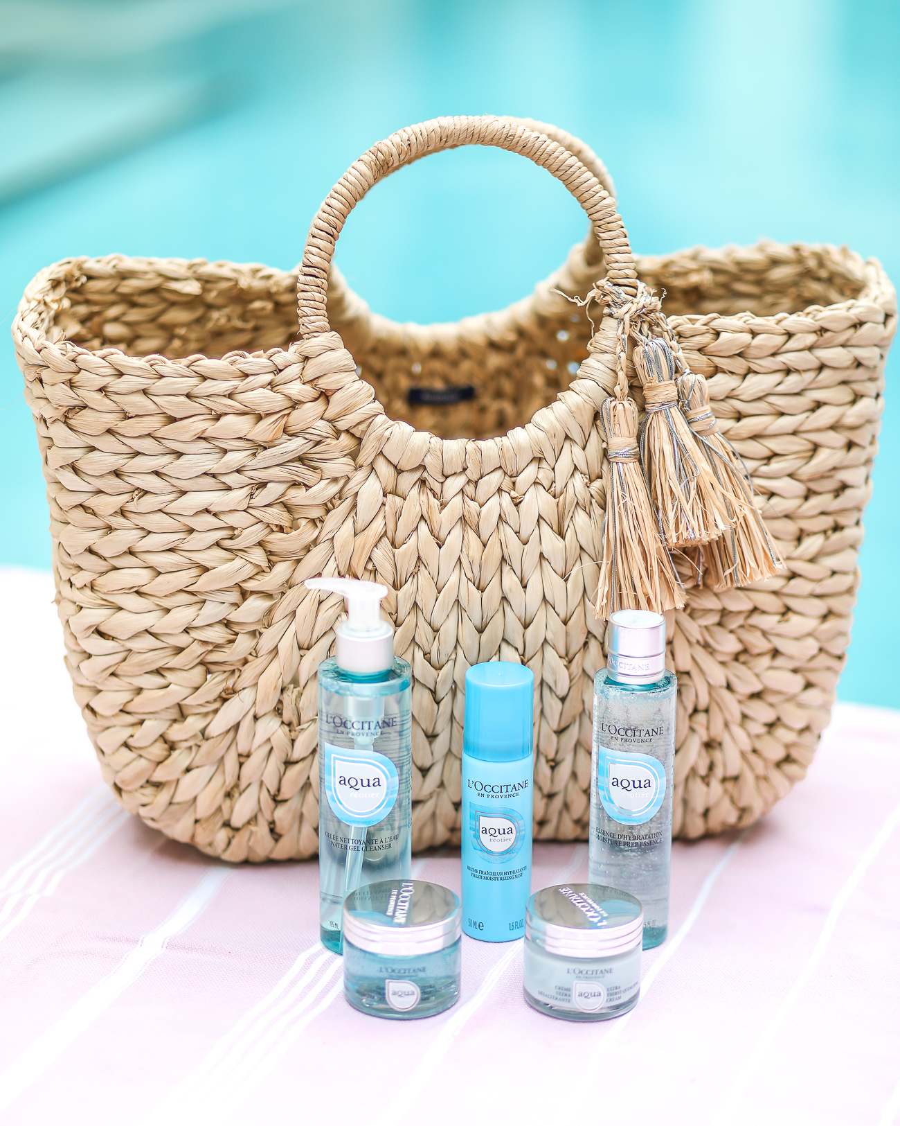 L'Occitane Aqua Réotier Skin Care Collection Easy Summer skincare Hat Attach Straw Tote
