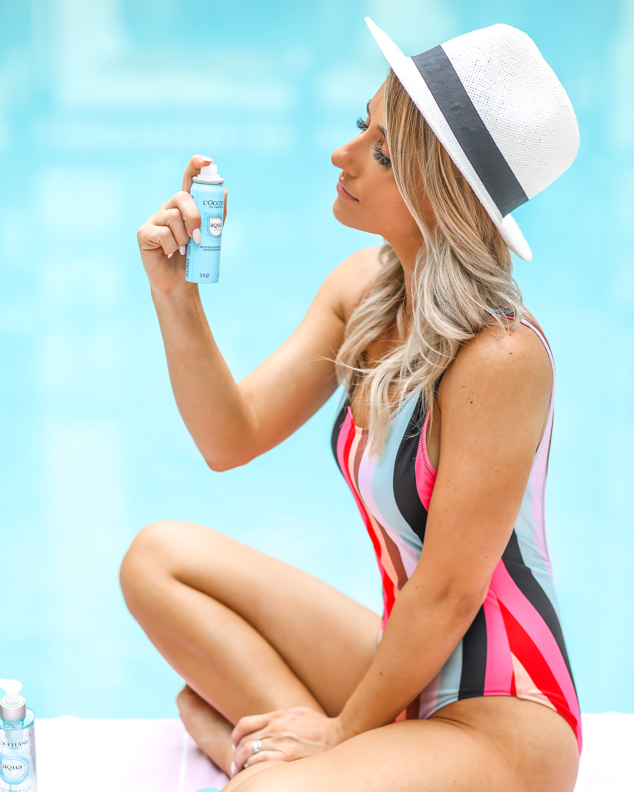 L'Occitane Aqua Réotier Skin Care Collection Easy Summer skincare Solid & Striped One Piece Tank Swimsuit Hat Attach Straw Tote