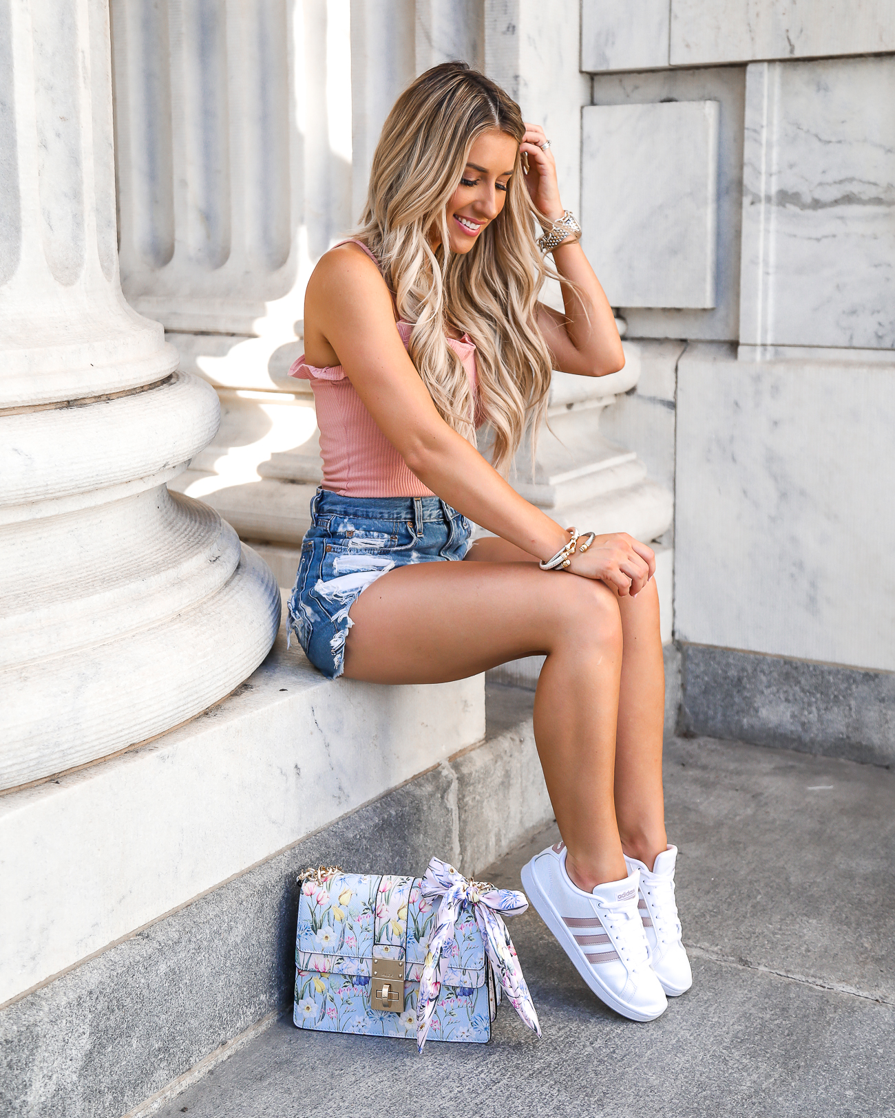 Casual Summer Outfit Rose Gold Adidas Cloudfoam Advantage Rag & Bone Justine High-Rise Distressed Denim Shorts