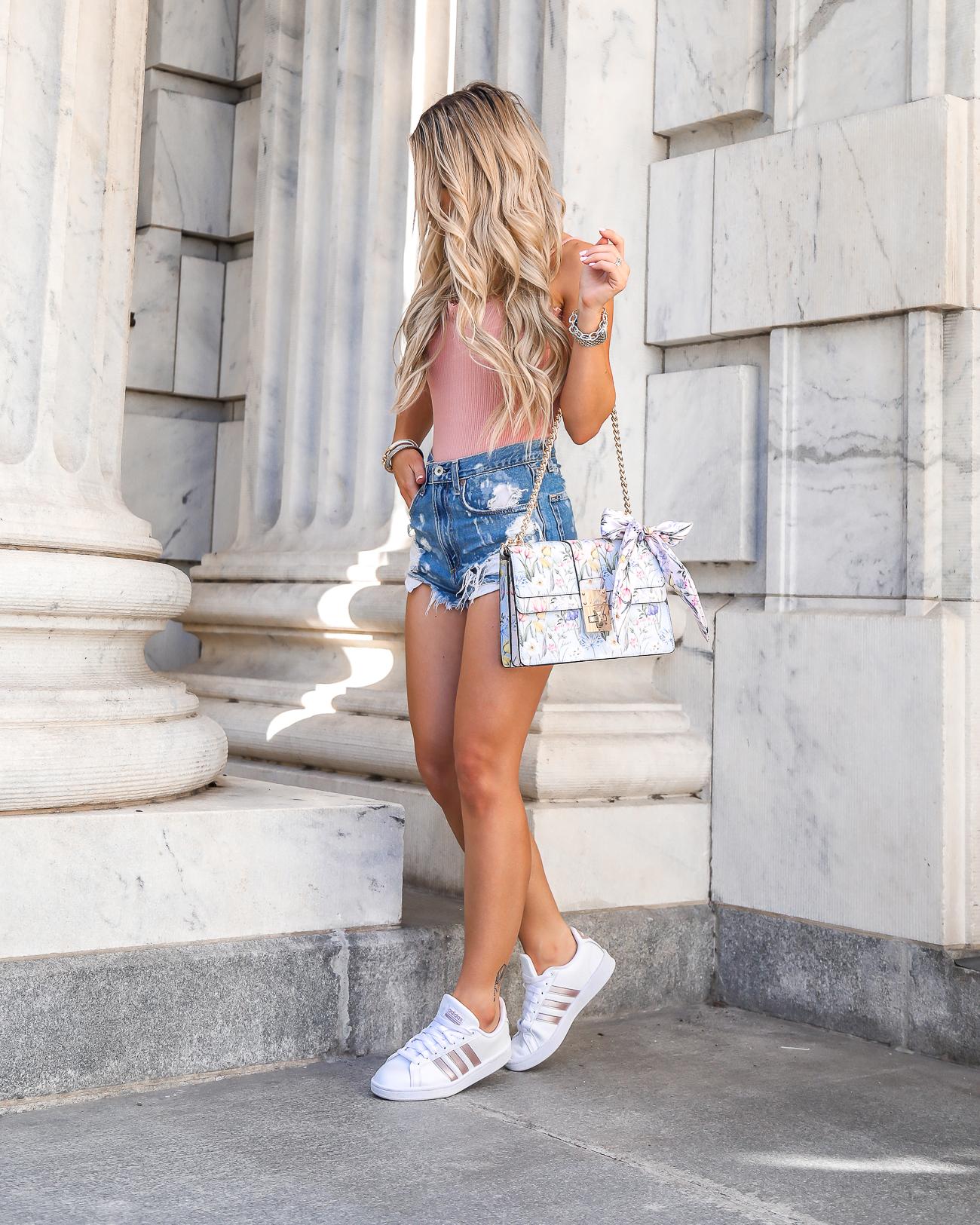 Casual Summer Outfit Rose Gold Adidas Cloudfoam Advantage Rag & Bone Justine High-Rise Distressed Denim Shorts