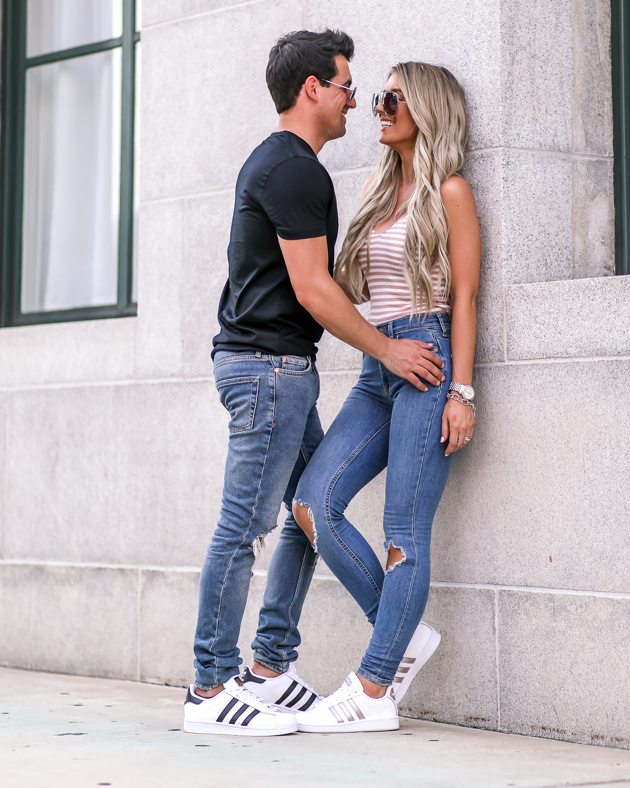 His & Hers outfit idea Adidas Superstar Casual summer Style