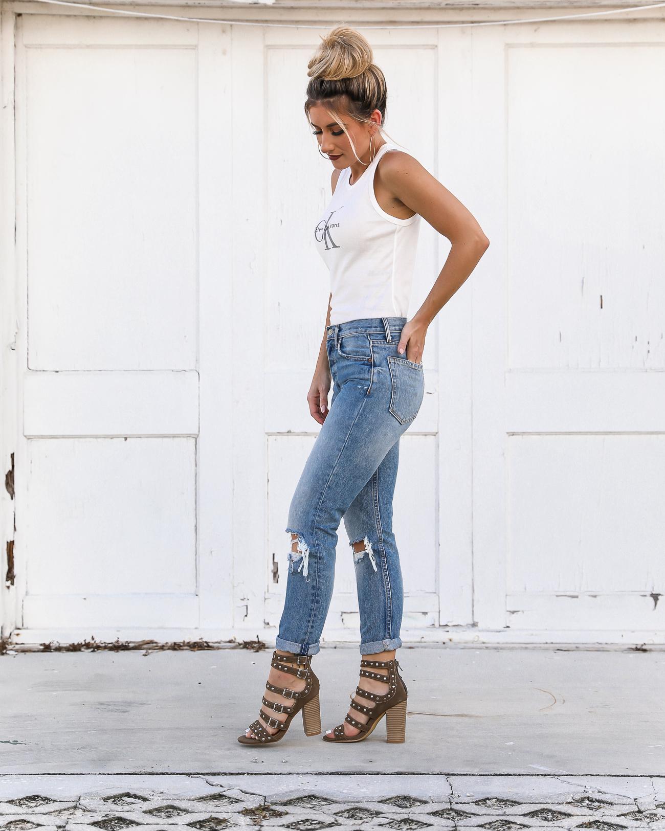 CK Tank Grlfrnd Distressed Jeans 90's style Calvin Klein tank top