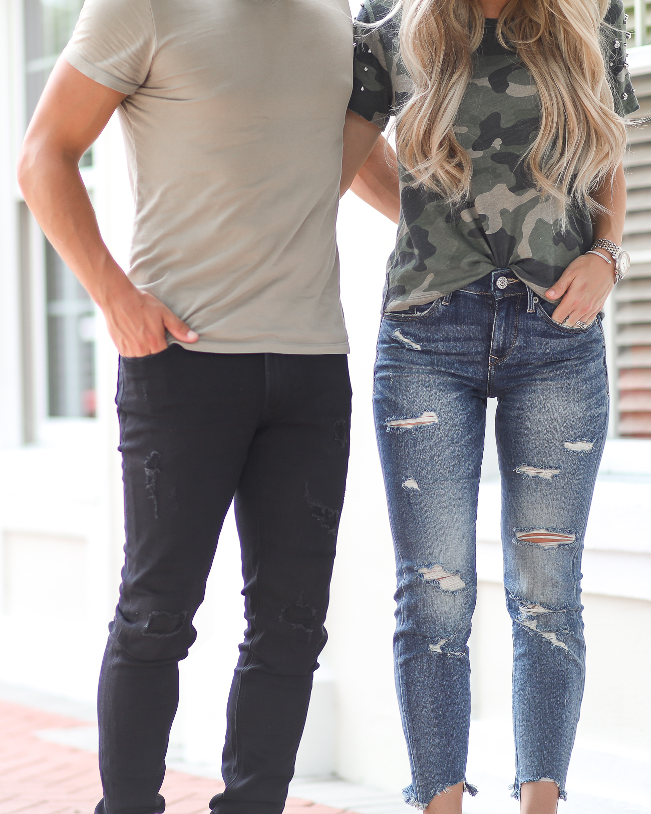 Express Distressed Jeans Casual Couples Style Camo Tee Mens Style