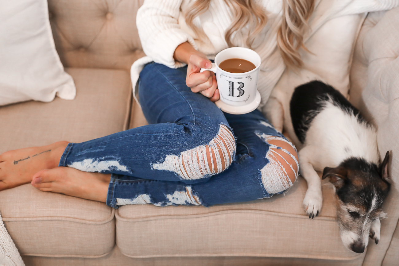 Express Petite Distressed Jeans Jack Russell Cozy Outfit Idea White Sweater