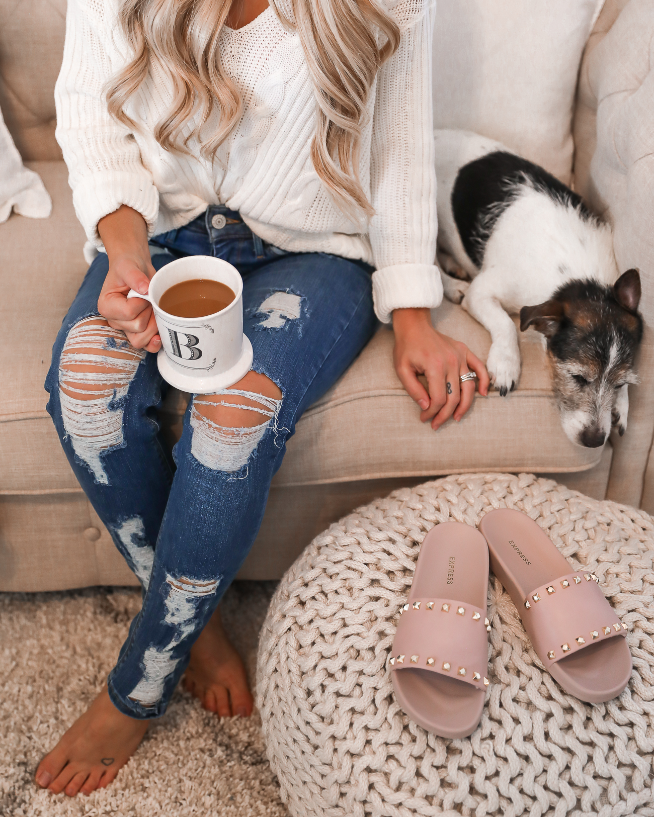 Express Petite Distressed Jeans Jack Russell Cozy Outfit Idea White Sweater-13