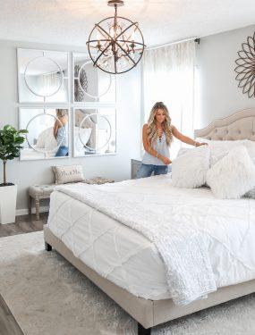 Neutral Bright Master Bedroom White bedding Bedroom Decor
