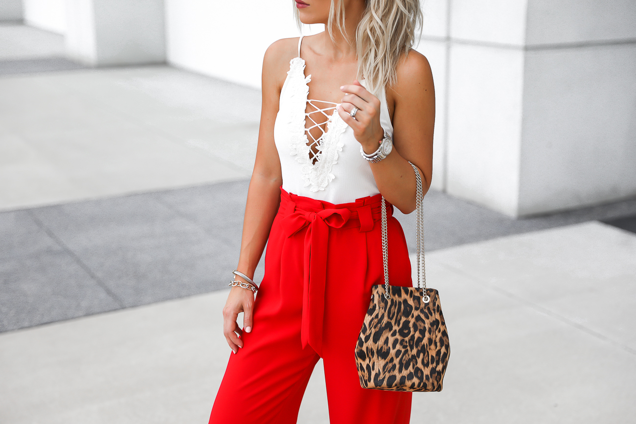 Express Red Wide Leg Pants Leopard Bucket Bag White Lace up Bodysuit