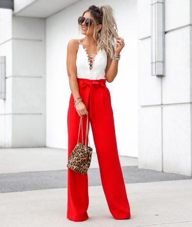 Express Red Wide Leg Pants Leopard Bucket Bag White Lace up Bodysuit