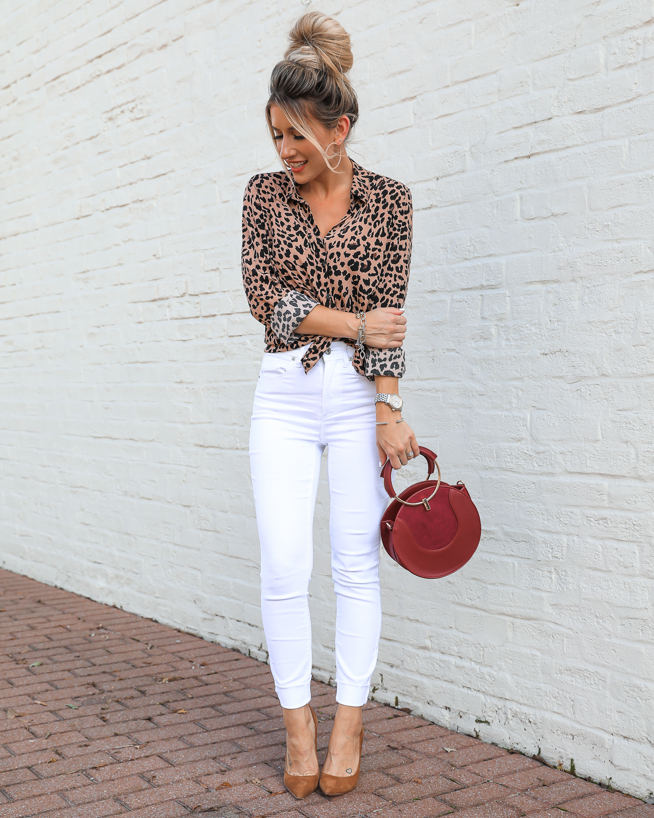 Dynamite Leopard Top & white jeans Fall Outfit Idea -3