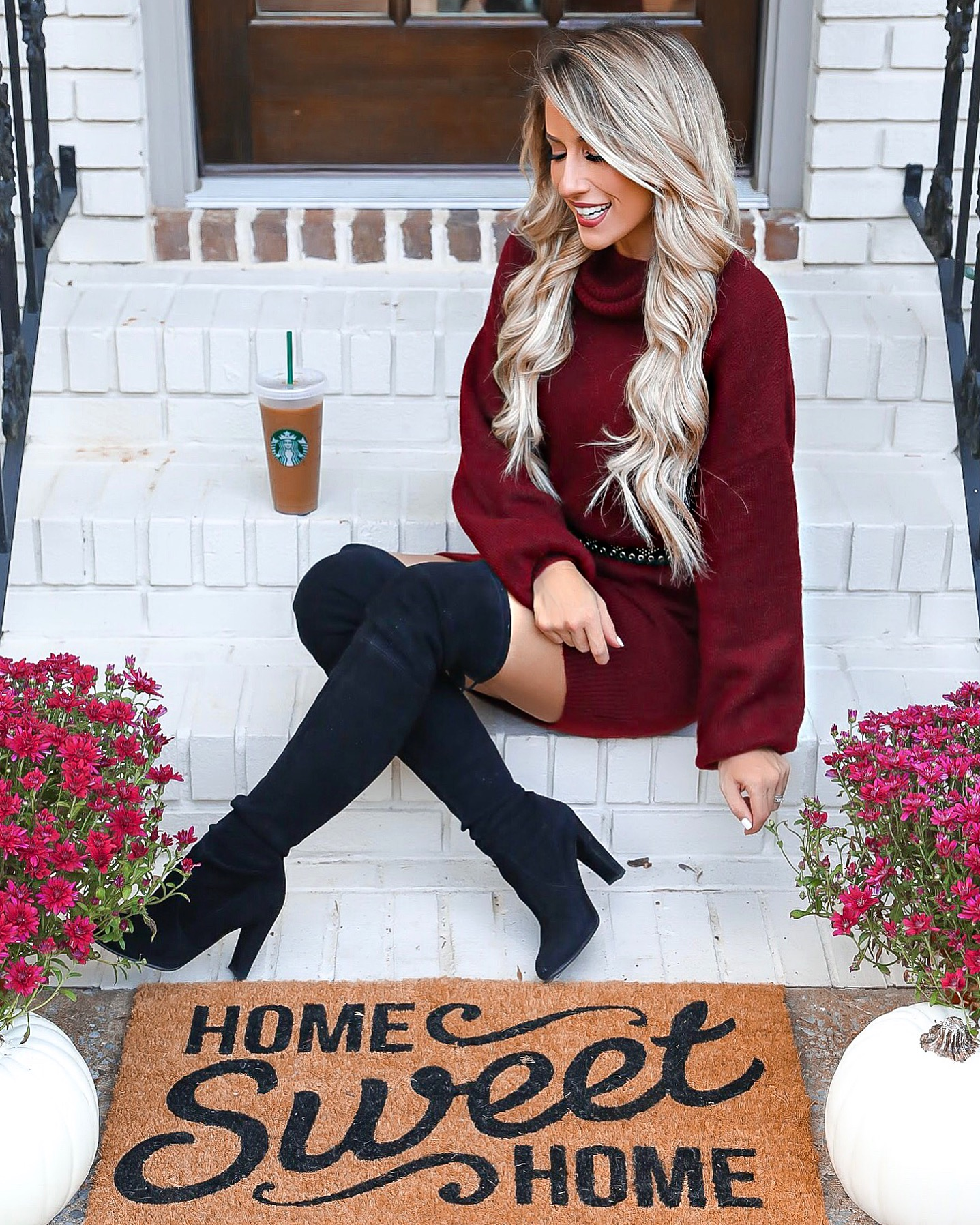 Express Fall Sweater Dress Outfit Burgundy Turtleneck Sweater Dress Home Sweet Home Door Mat Stewart Weitzman Hiline Over The Knee Boots Outfit Black