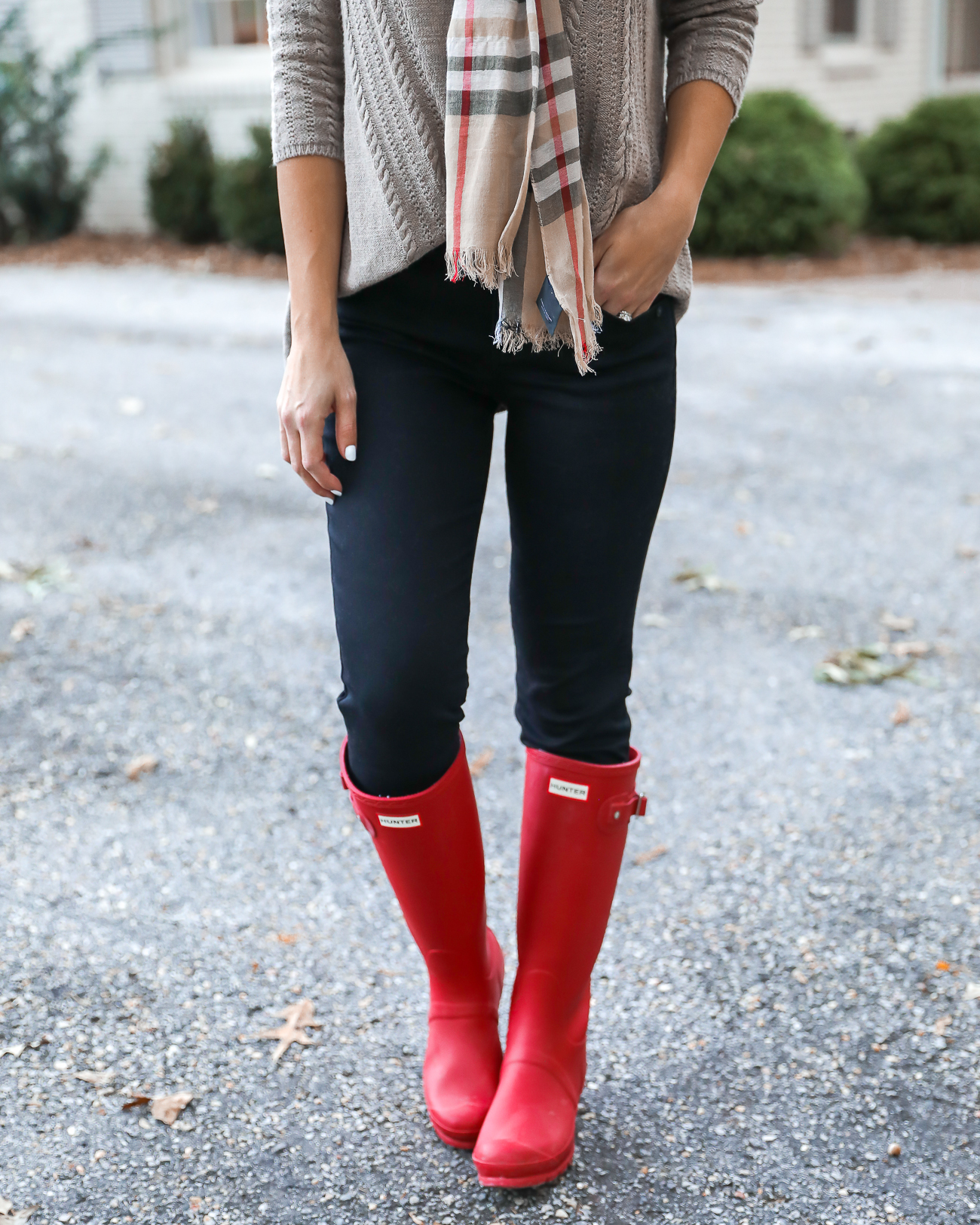 Thanksgiving Day Outfit Idea Red Hunter Boots Burberry Scarf Dog sweater Casual Holiday Outfit Idea