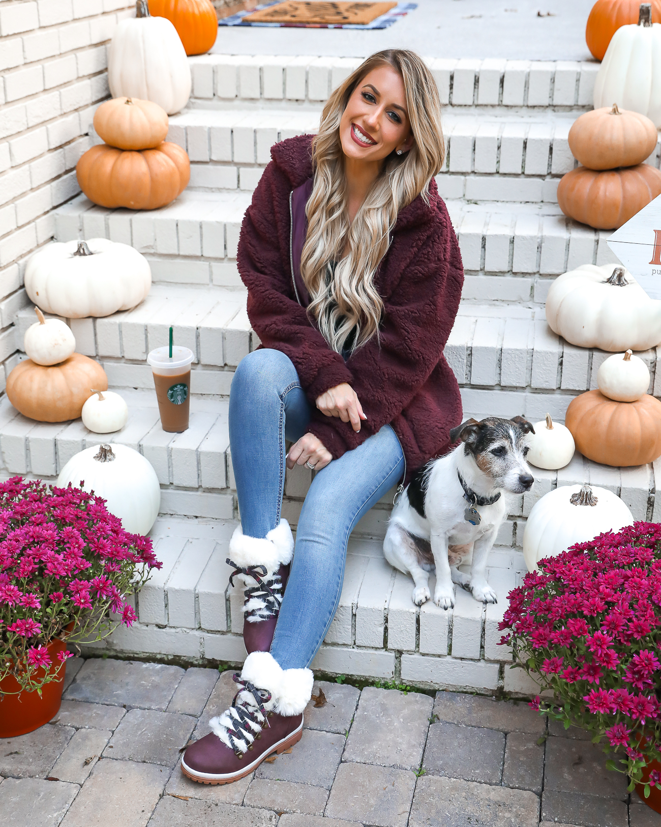 Wubby Fleece Pullover Muk Luks Faux Fur Boots Cozy Fall Outfit Idea Fall Front Porch