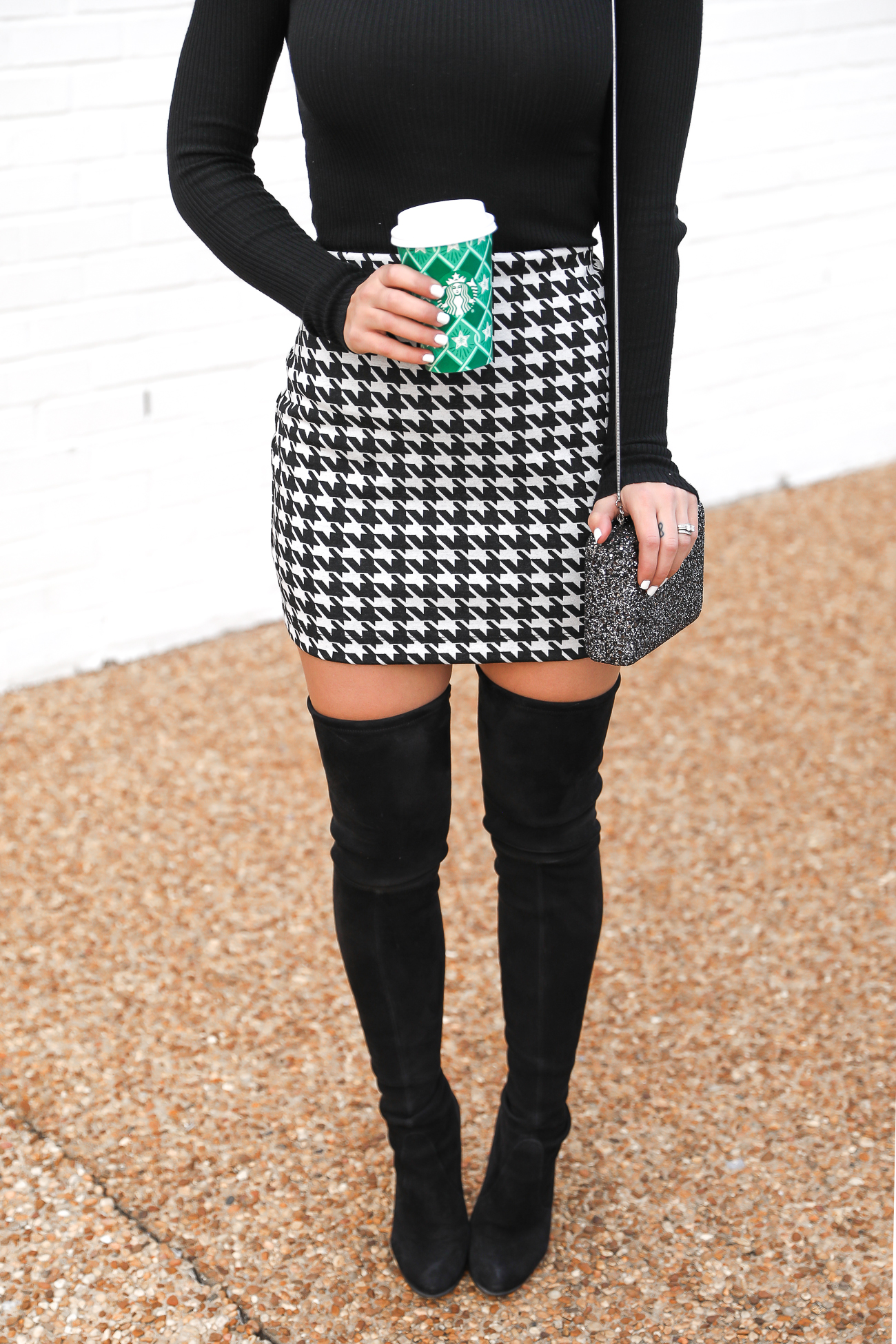 Express Houndstooth mini skirt christmas Thanksgiving outfit idea Black Turtleneck Stuart Weitzman Over the knee boots Holiday style