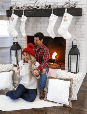 Nordstrom Mens holiday outfit idea couples christmas family pictures Red plaid shirt white brick fireplace Laura Beverlin-1