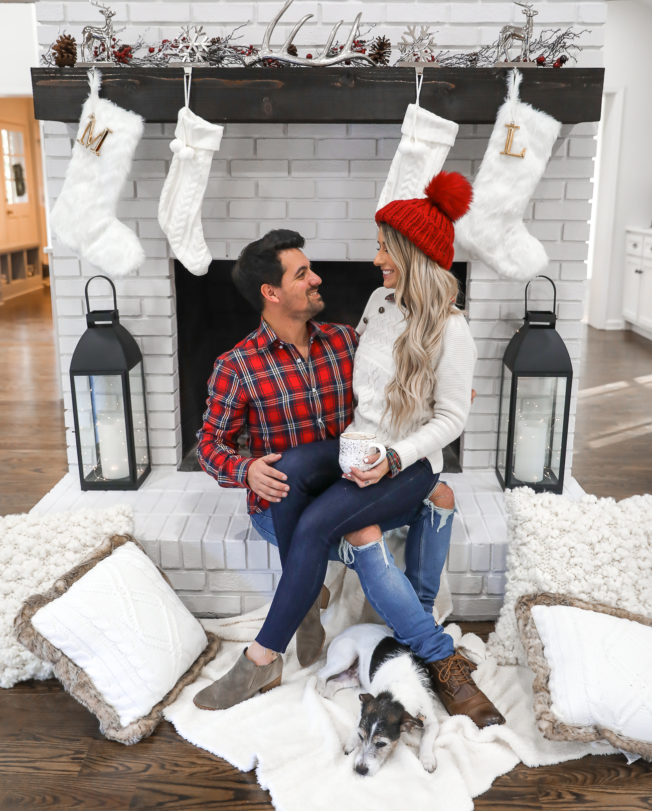 Nordstrom Mens holiday outfit idea couples christmas family pictures Red plaid shirt white brick fireplace Laura Beverlin-3