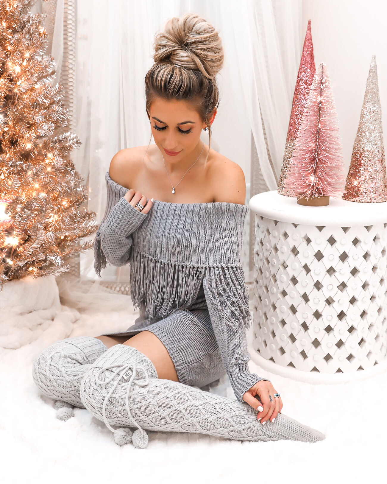 Simon G Jewelry Christmas Gift Idea For Her Grey Fringe Dress Pink Christmas Tree Laura Beverlin UGG cable knit over the knee socks fringe sweater dress