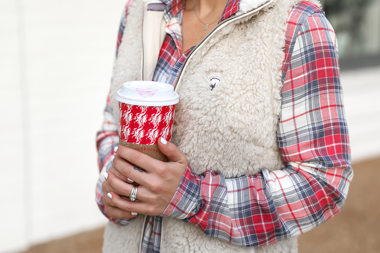 Southern Shirt Plaid Shirt Dress White Sherpa Fleece Vest Red Starbucks Cup Casual Holiday Outfit