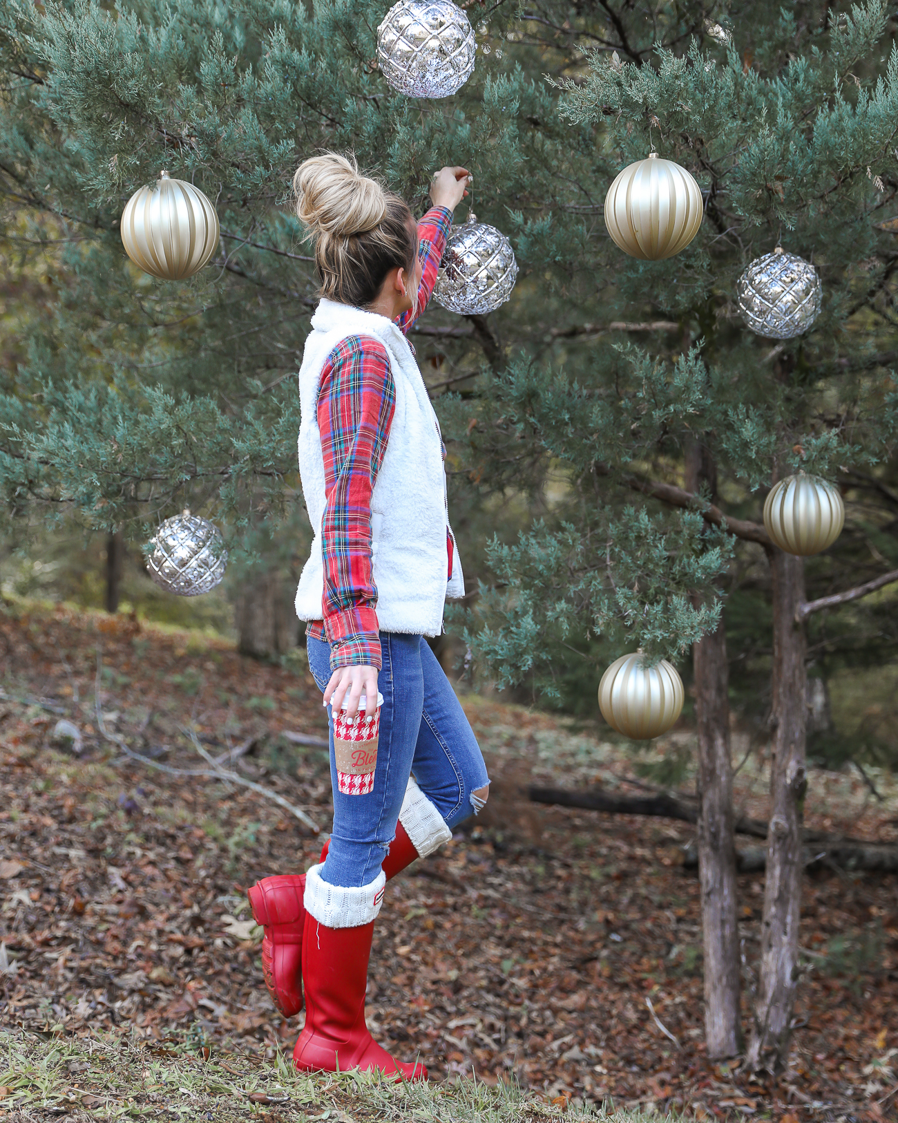 Topshop plaid holiday shirt Patagonia Sherpa Vest Red Hunter Boots Casual Christmas Outfit