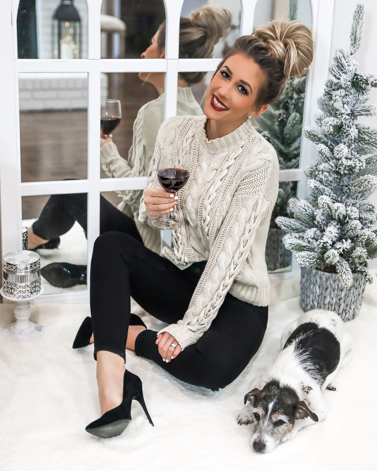 Walmart Chunky Cable Knit Sweater Casual Chic Holiday Outfit Steve Madden Daisie Black Suede Pumps Laura Beverlin -111