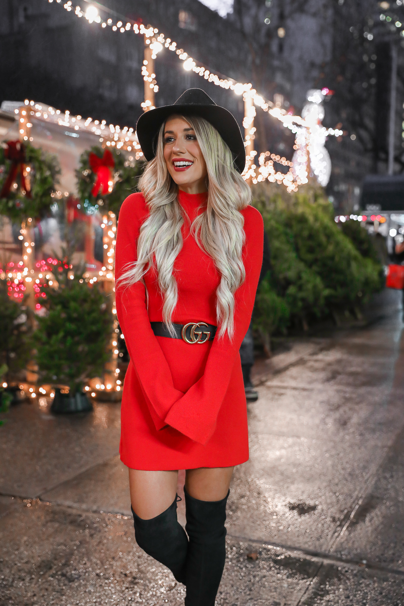 Express Holiday Christmas New York City Red Sweater Dress Gucci Belt 2018 Laura Beverlin-4