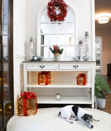 HOME DEPOT HOME DECOR FARMHOUSE FRONT ENTRY WAY HOME DECOR WHITE ENTRY TABLE WINDOW MIRROR LAURA BEVERLIN HOME
