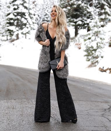 Nordstrom Black Christmas Holiday Sparkle Jumpsuit Faux Fur Scarf wrap Black YSL monogram wallet on a chain Lake Tahoe Winter Outfit Laura Beverlin -14