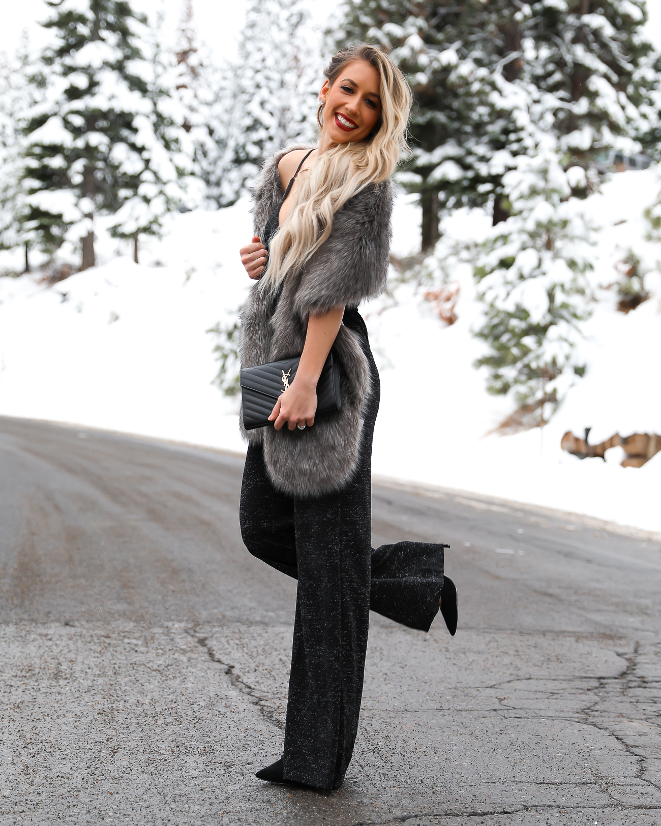 Nordstrom Black Christmas Holiday Sparkle Jumpsuit Faux Fur Scarf wrap Black YSL monogram wallet on a chain Lake Tahoe Winter Outfit Laura Beverlin -5