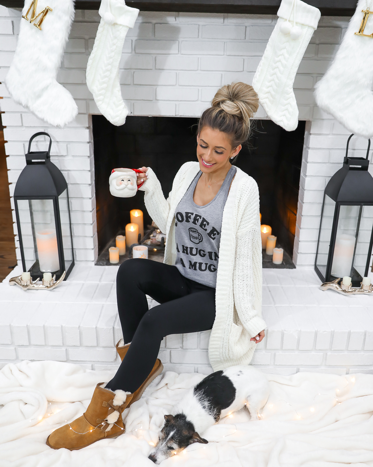UGGS KOOLABURRA VICTORIA SHORT BOOTS CASUAL WINTER OUTFIT COFFEE TANK TOP WHITE CHENILLE CARDIGAN WHITE FARMHOUSE FIREPLACE LAURA BEVERLIN-2