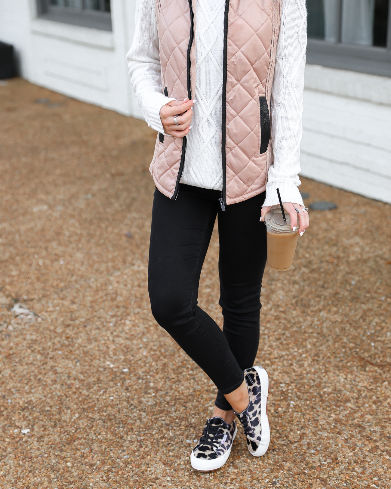 Walmart Tan and Black Quilted Vest Superga leopard velvet sneakers Black skinny jeans White knit tunic sweater Lord & Taylor Laura Beverlin-10