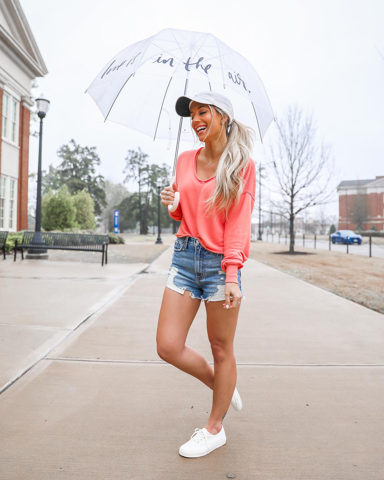 Abercrombie Summer Outfit Coral Cropped sweatshirt Denim cutoff shorts Kate Spade Umbrella Laura Beverlin Rain Picture-21