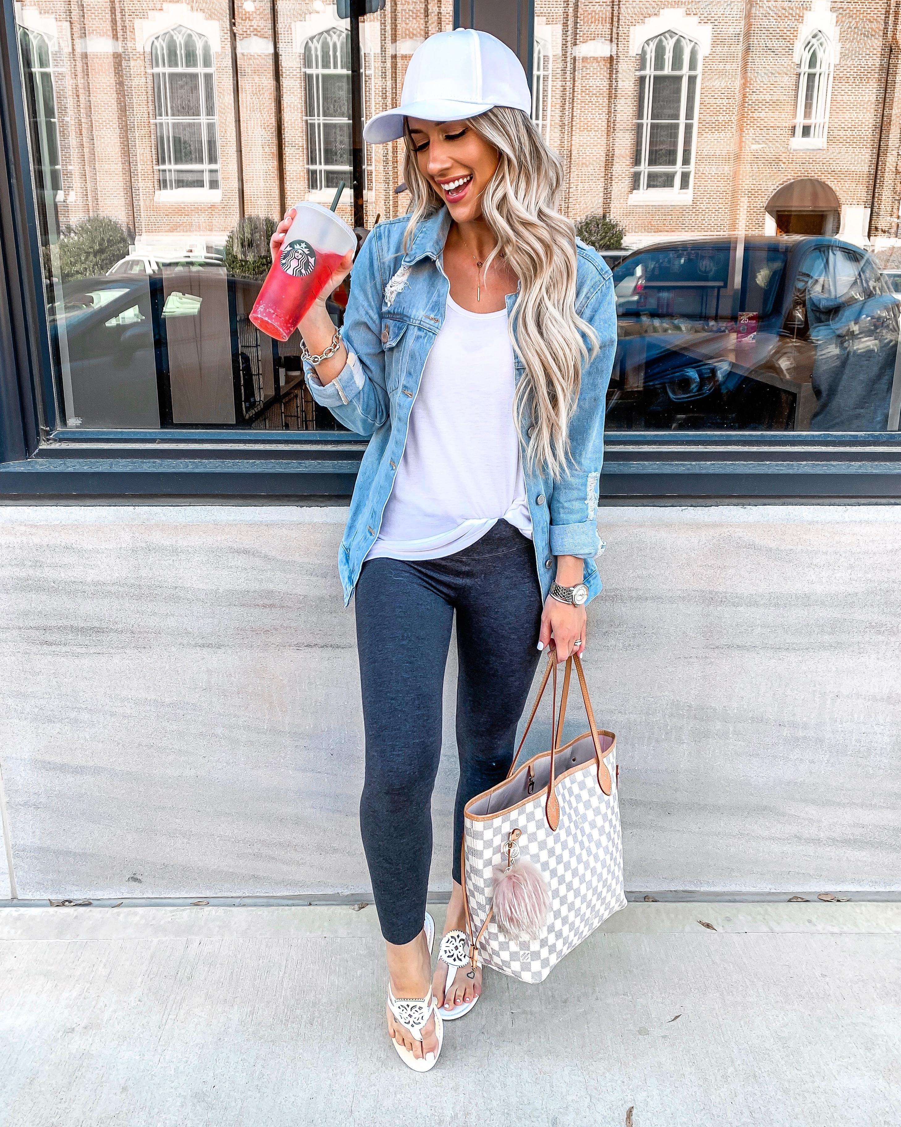 comfy casual spring & summer outfit leggings Distressed denim jacket tory burch miller dupes Louis vuitton neverfull mm Laura Beverlin
