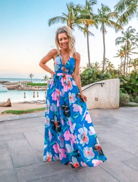 Express Blue Tropical Maxi Dress Vacation Outfit Idea Four Season Oahu Hawaii Outfit Laura Beverlin 30th Birthday-2