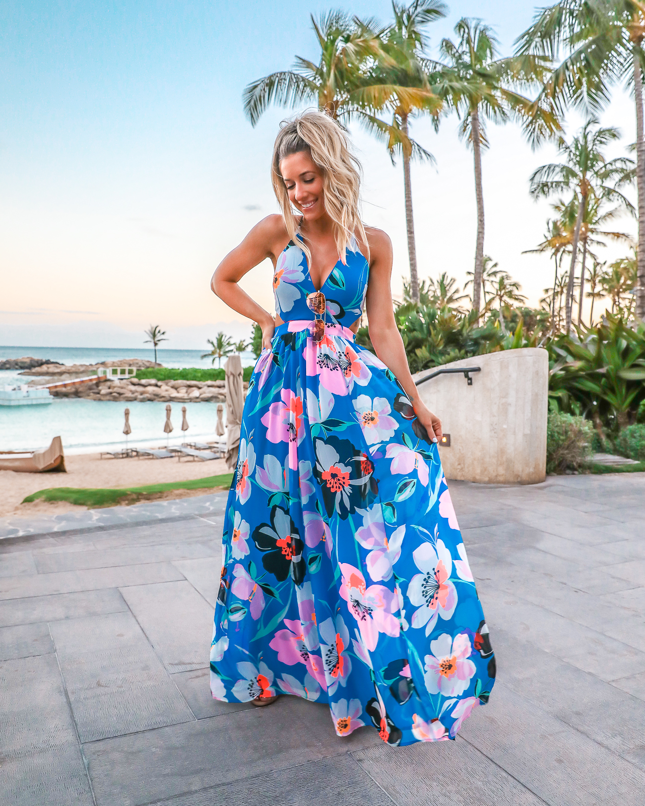 Express Blue Tropical Maxi Dress Vacation Outfit Idea Four Season Oahu Hawaii Outfit Laura Beverlin 30th Birthday-6