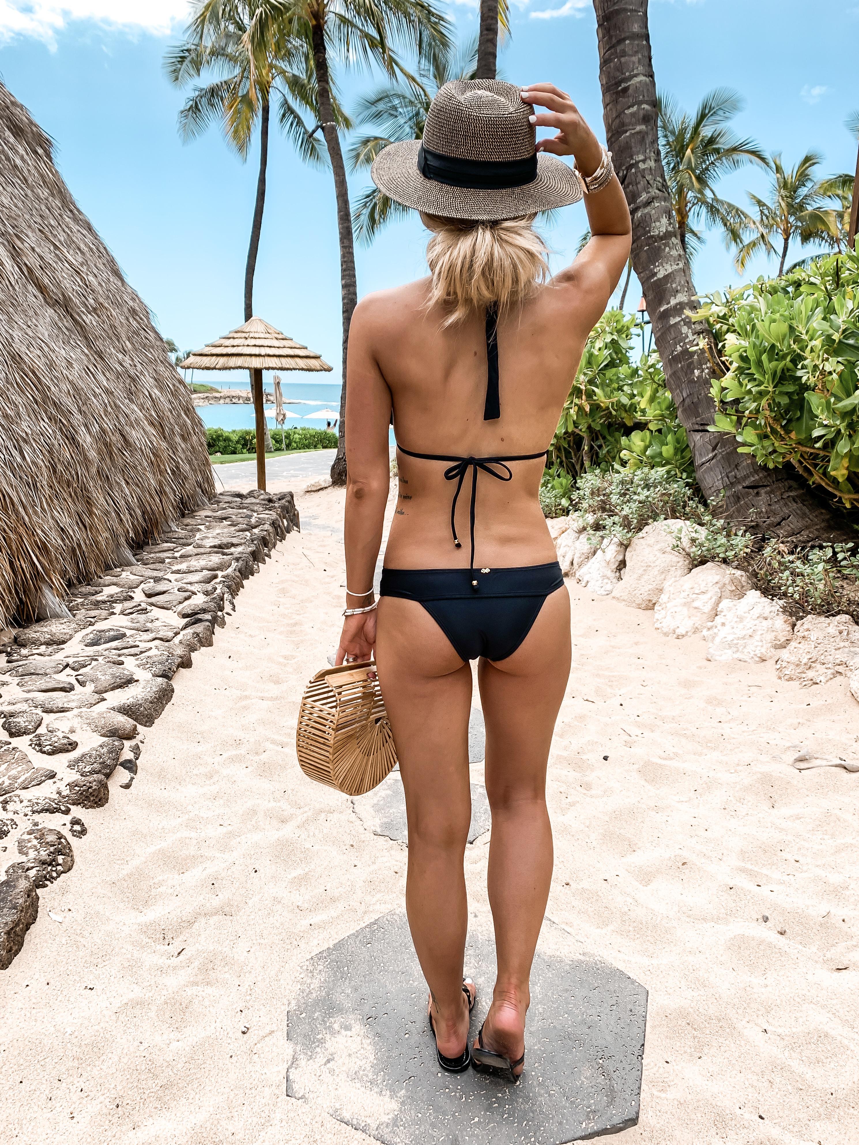 Black lace swimsuit bikini PilyQ Bloomingdales Spring break vacation outfit Four Seasons Oahu Hawaii Laura Beverlin