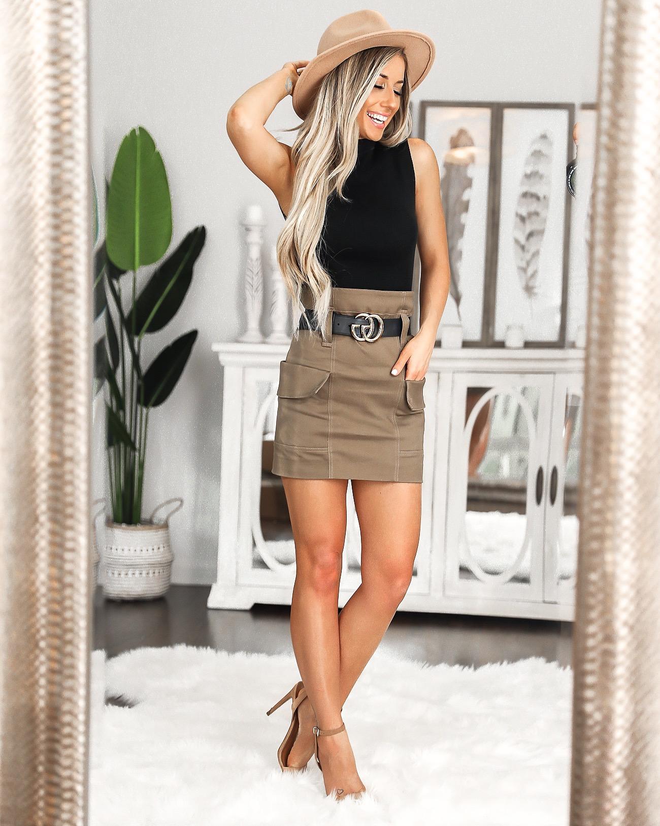 J.ing Date Night outfit Black Gucci Belt Cargo skirt Tan fedora hat Laura Beverlin