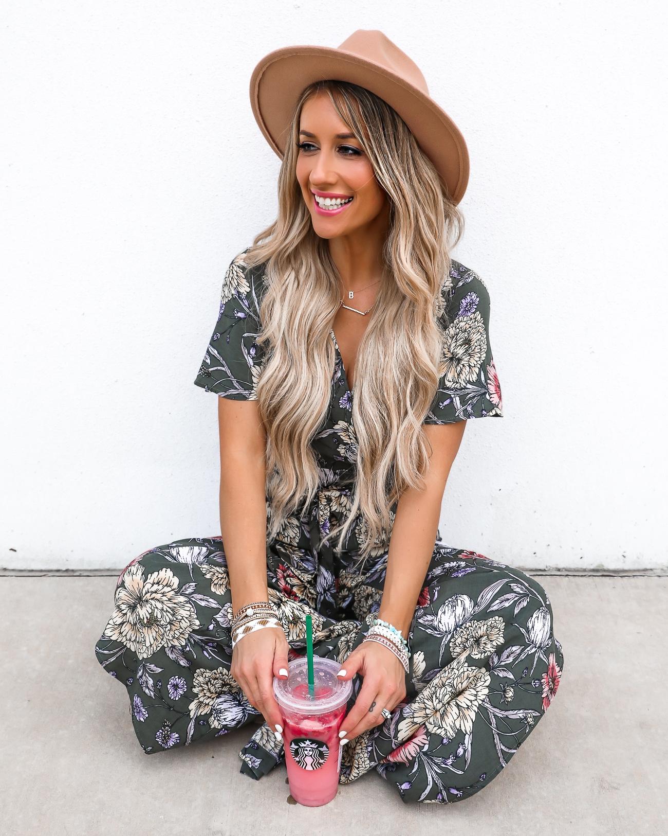 Victoria Emerson Bracelets Spring & summer outfit idea Floral Jumpsuit Starbucks Pink Drink Laura Beverlin1