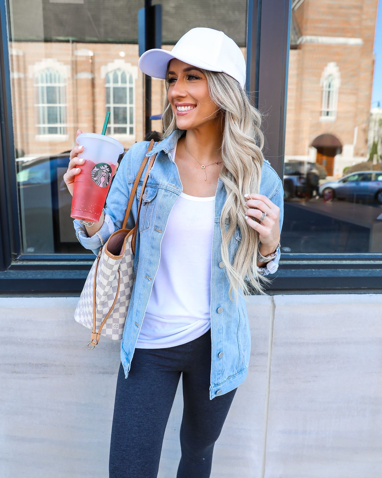 comfy casual spring summer outfit leggings distressed denim jacket tory burch miller dupes Laura Beverlin-14