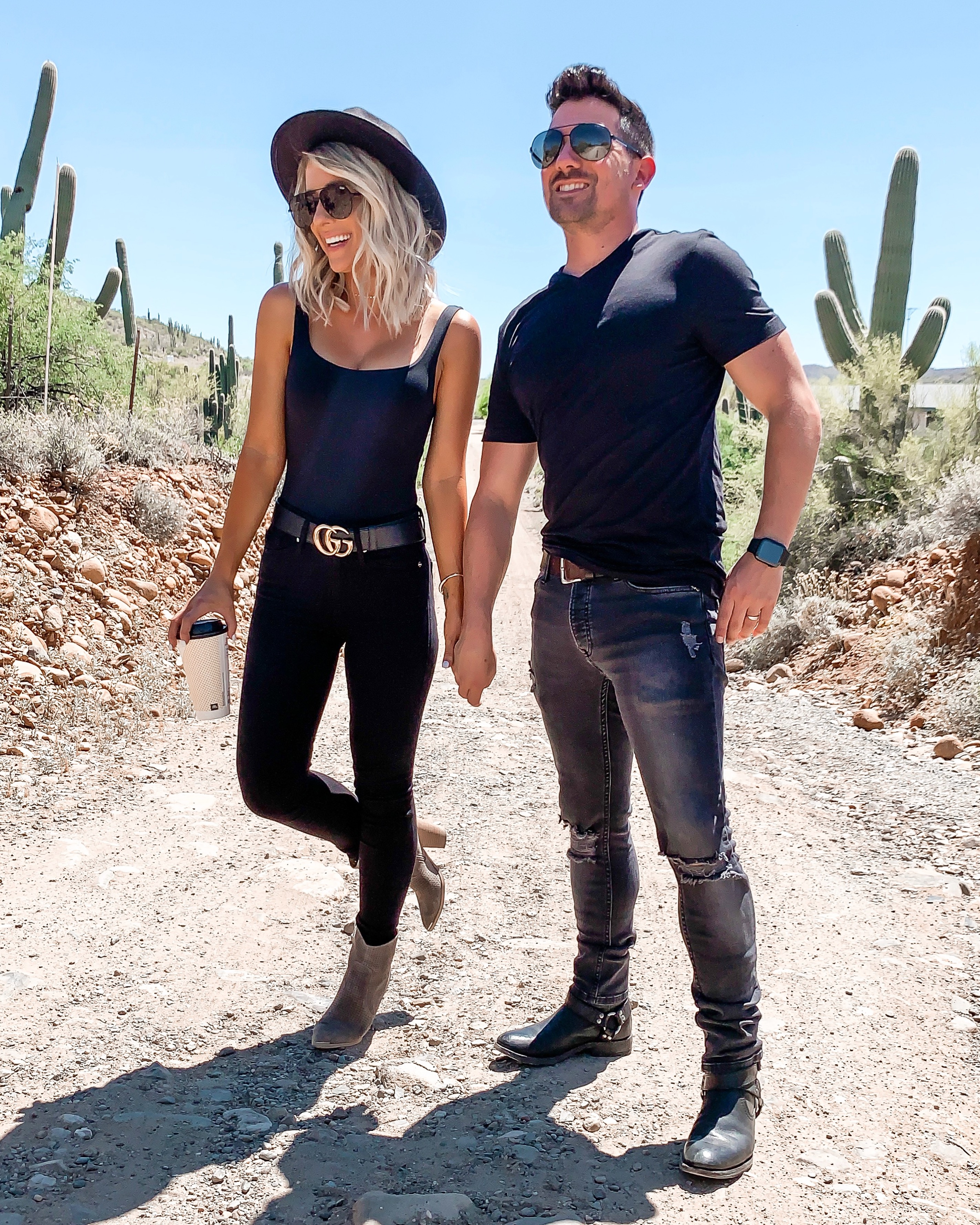 his & her casual outfit idea black desert outfit black gucci belt Laura Beverlin Short blonde Hair