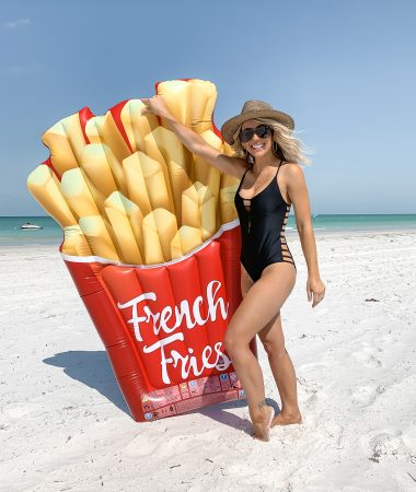 french fry pool beach float black cutout one piece swimsuit Laura Beverlin St Pete beach florida