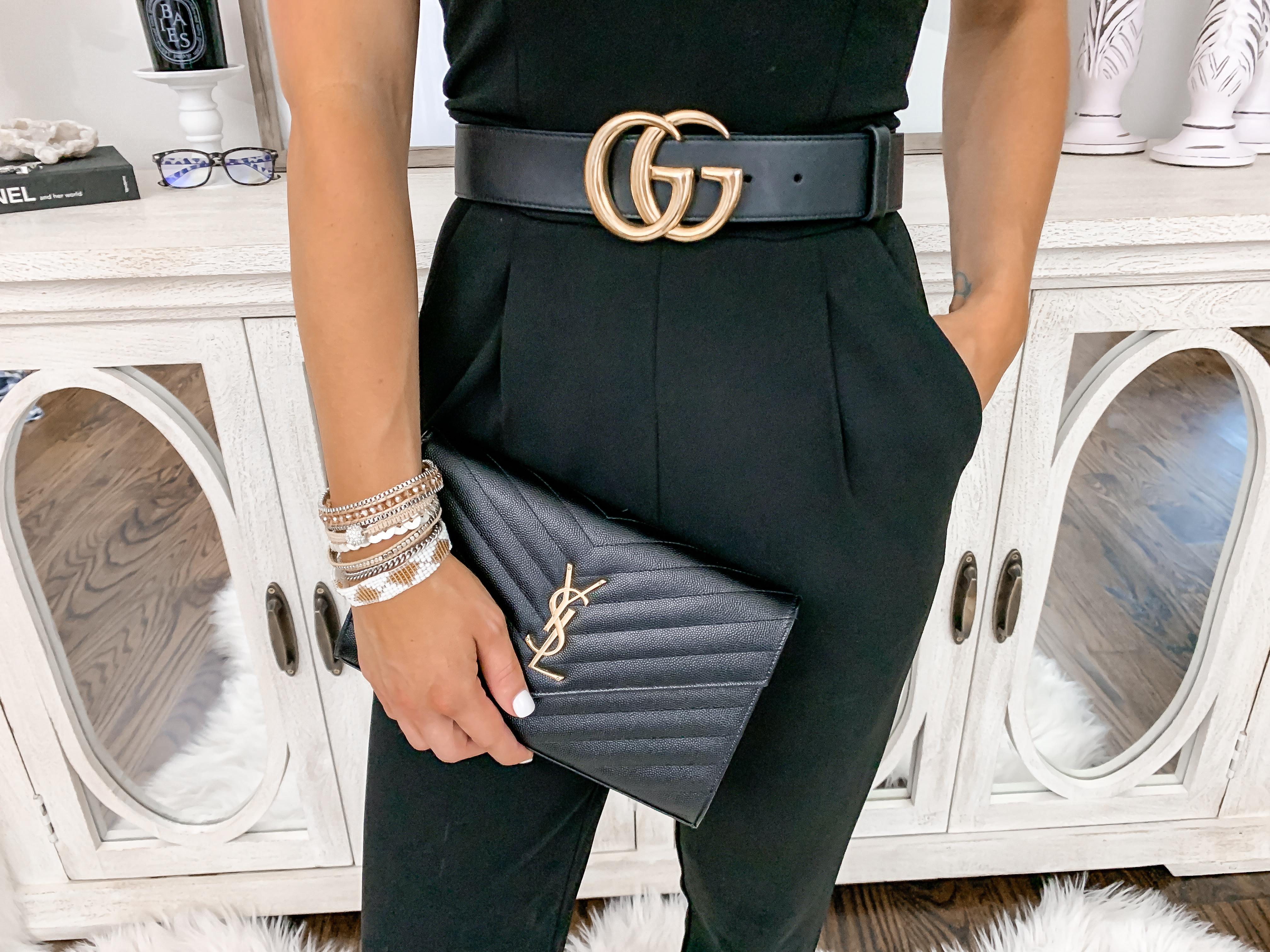 Date night outfit idea black jumpsuit victoria emerson wrap bracelets laura beverlin