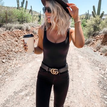 Coachella Stagecoach Festival concert outfit idea black desert outfit black gucci belt all black date night Laura Beverlin Short blonde Hair
