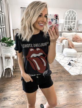 summer finds under $25 rolling stones Band tee Black shorts short blonde hair laura beverlin