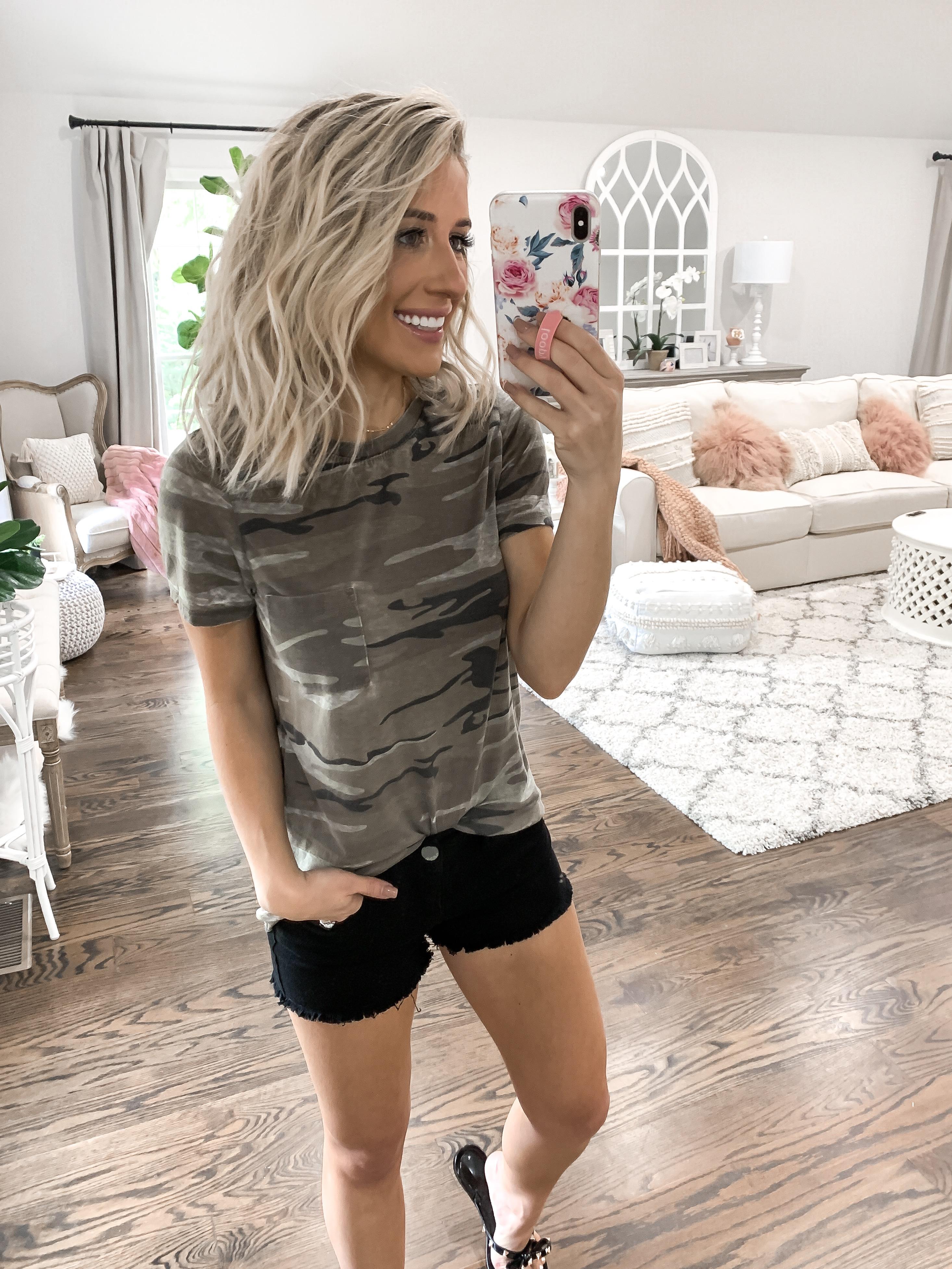 summer finds under $25 camo target tshirt Black shorts short blonde hair laura beverlin