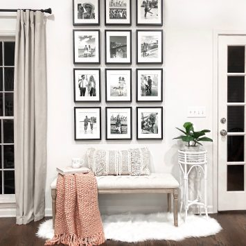 Laura Beverlin home decor living room farmhouse gallery wall black and white picture frames