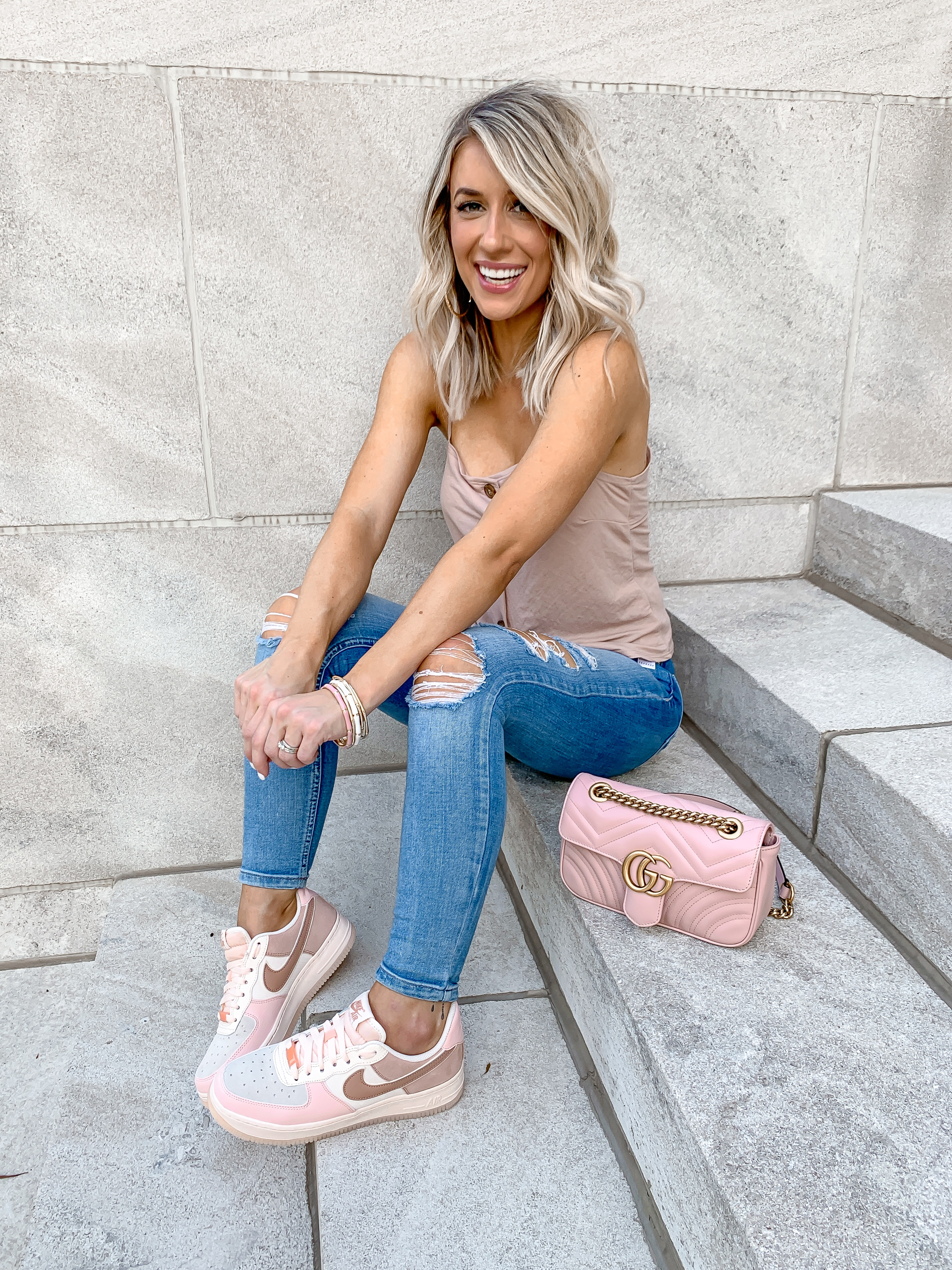 casual sporty outfit blush pink air force 1 womens sneakers pink gucci mini marmont corssbody bag laura beverlin8